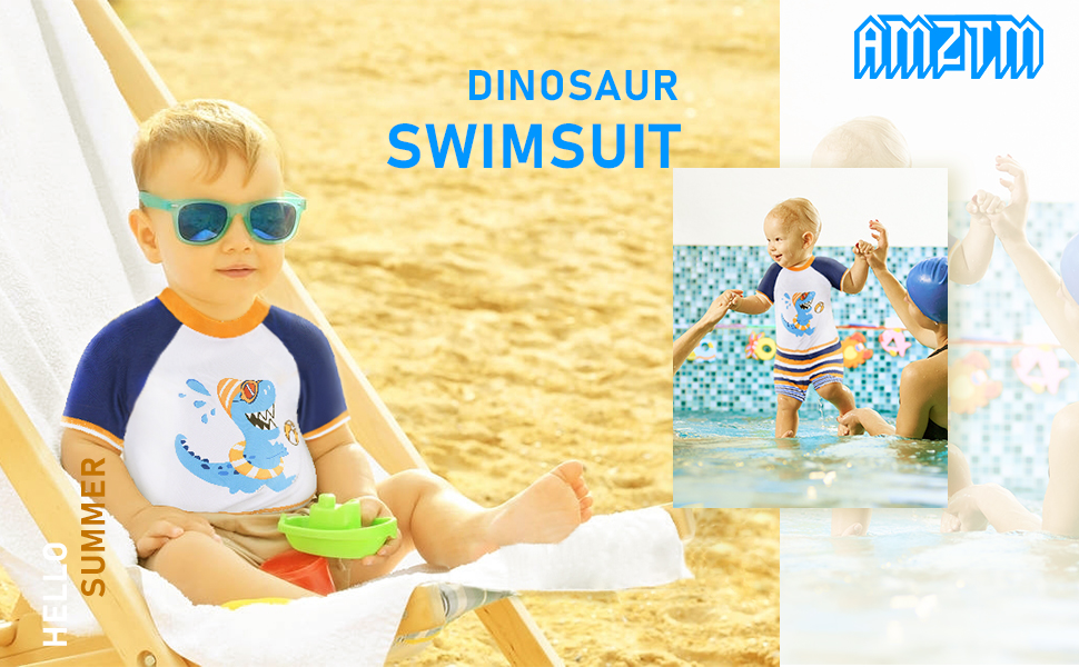 AMZTM Baby Toddler Boys 2-Pieces Dinosaur Swimsuit Sets Trunk and Rashguard