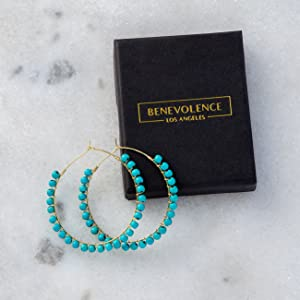 benevolence la turquoise natural stone hoop earrings for women turquoise jewelry