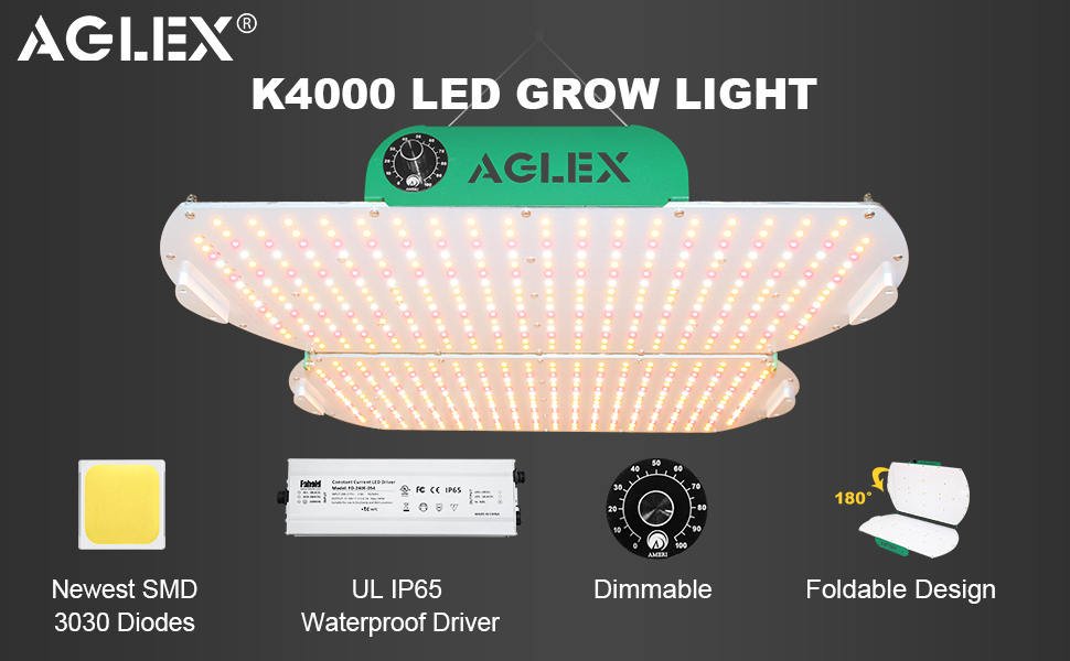 AGLEX K4000 Grow  Light with foldable dimmable function