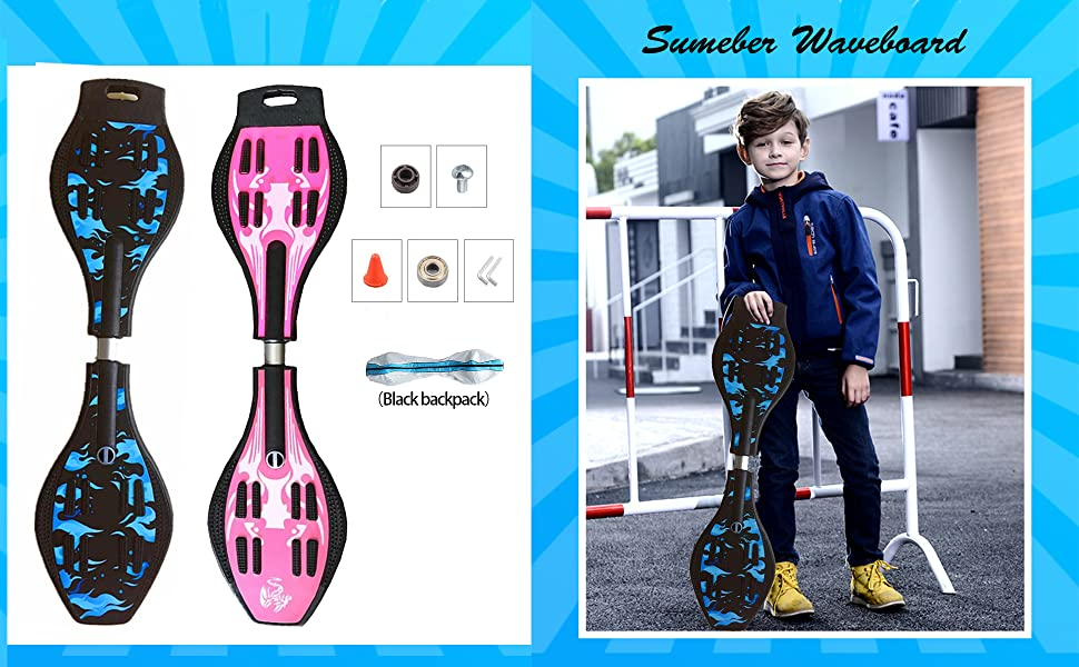 Sumeber Waveboard Planche de surf pour adulte avec roulettes clignotantes pour enfants adultes et adolescents
