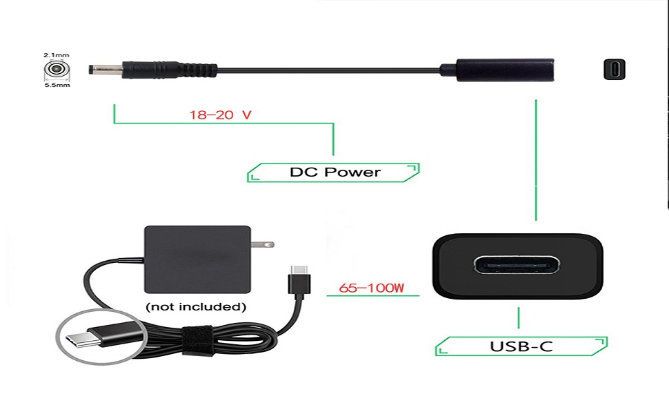 USB-C  to DC 5.5*2.1mm PD Charge Cable