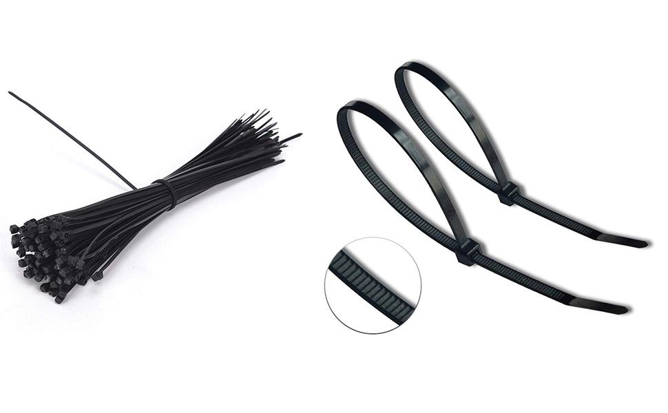 Nouveau Nylon Attaches De Câbles Blanc Noir 300 mm x 3.6 mm Qté 100 Câblage Cravate Nylon 66