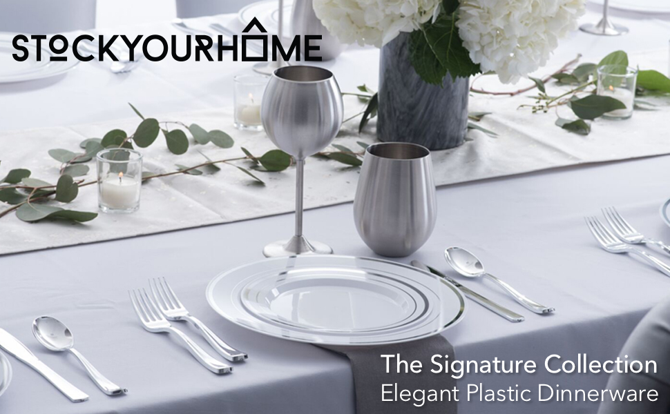 Fancy Disposable Plates with Cutlery - 125 Piece Silver Plastic Party Plates and Silverware