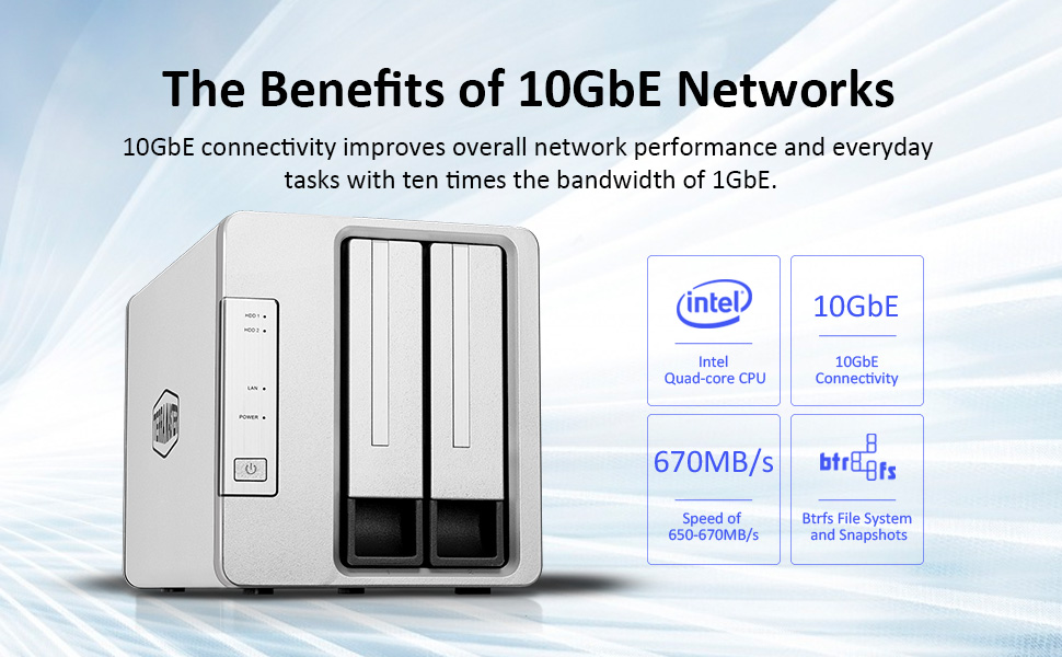 network attached storage 10gbe nas server plex media transcode cloud data synchronization 5 bay sync