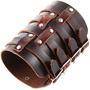 Men's leather triple strap wrist strap