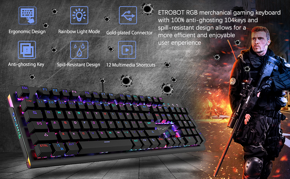 ETROBOT Mechanical Gaming Keyboard with MX Blue Switches, RGB LED Backlit  and Exclusive Side Light, USB Wired Game Keyboard with Heavy Duty Aluminum