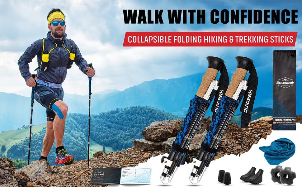 Folding Collapsible Trekking poles full Kit