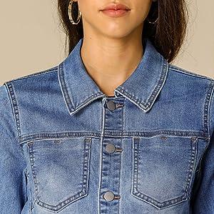 Women's Jean Jacket Frayed Button Up Washed Cropped Denim Jacket Light Blue
