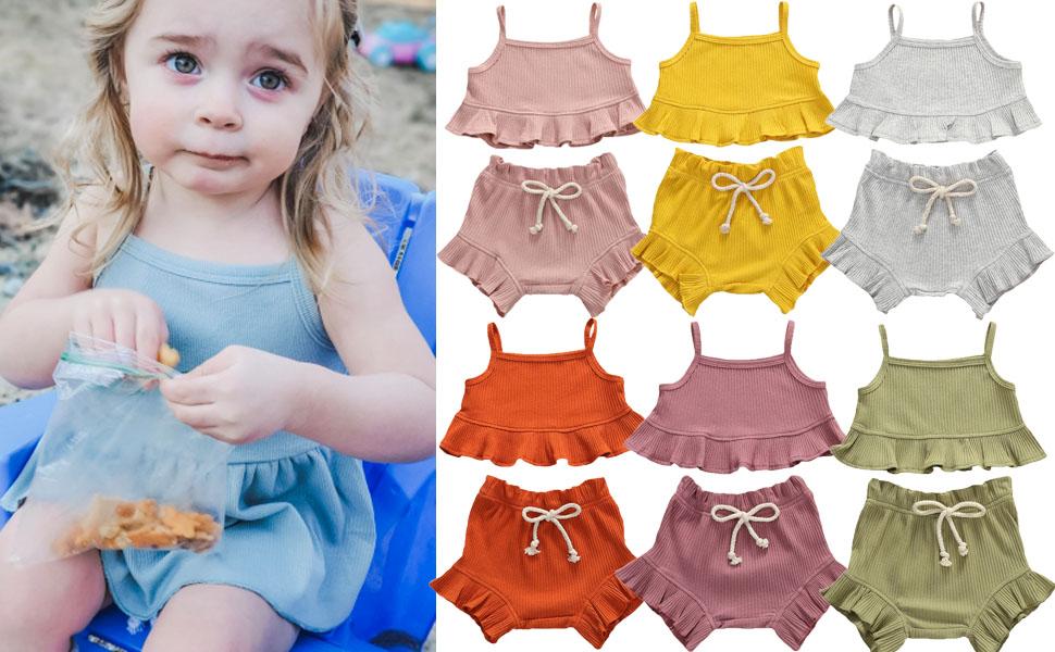 2PCS Babys Girls Cotton Vest Top And Short Set Summer outfits