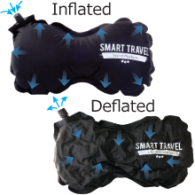 Adjustable thickness inflatable travel pillow