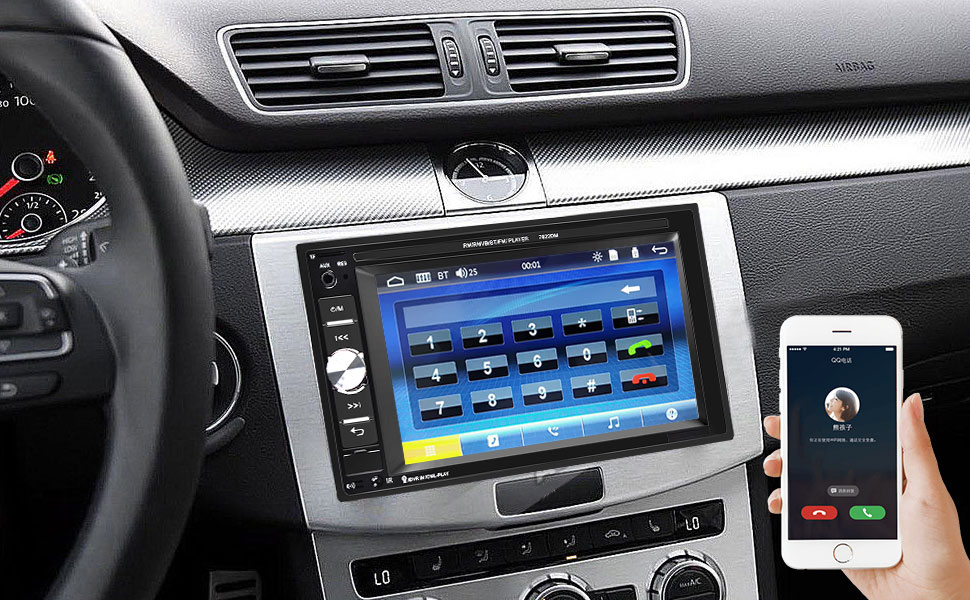 Car Stereo with Built - in Bluetooth, supports hands - free calling.