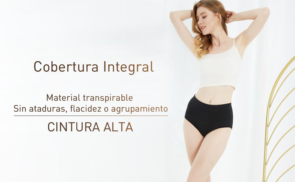 INNERSY Bragas Mujer de Algodón Ropa Interior de Cintura Alta ...