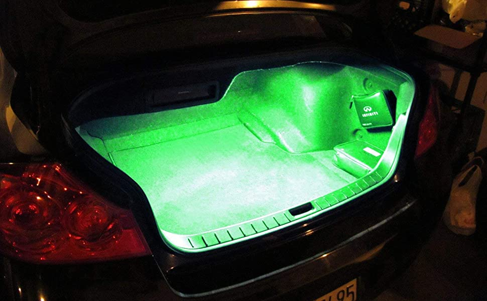 LED Strip Light For Car Trunk Cargo Area or Interior Illumination, Emerald Green