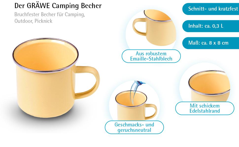 10//12//14 cm Emaille Emailletasse Emaillebecher Campingbecher Kaffeebecher