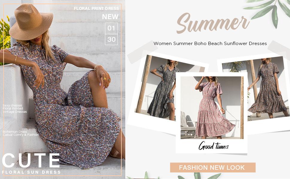 boho midi dress for women floral dress midi boho midi dresses summer black midi dress