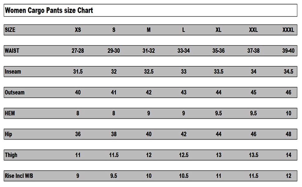 Women Cargo Size Chart