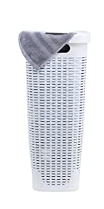 white laundry hamper 40 liter slim with lid