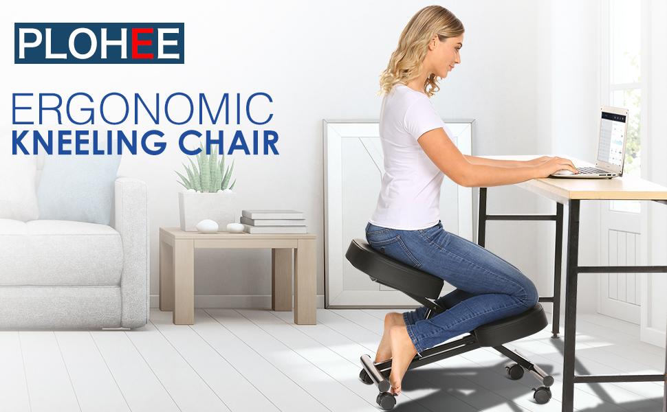 Plohee Ergonomic Kneeling Chair Caster Great for Home//Office//Meditation