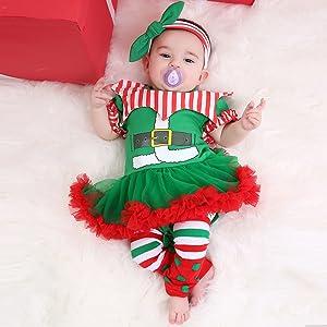FANCYINN Baby M/ädchen Weihnachten Tutu T/üll Kleid Mein erstes Weihnachtskleid Kleinkinder Weihnachten Strampler Kleid mit Stirnband Beinlinge /& Schuhe 0-24 Monate