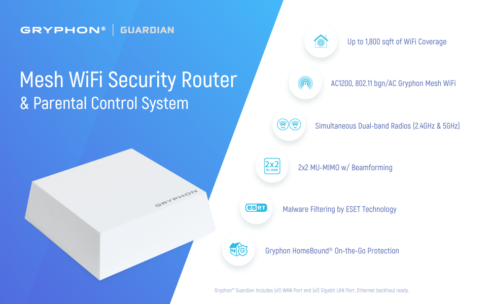 Smart Mesh Wireless System-3PK GRYPHON GUARDIAN Advance Security /& Parental Control Mesh WiFi Router upto 5000sqft AC1200 Dual-Band Hack Protection w//AI-Intrusion Detection /& ESET Malware Protection