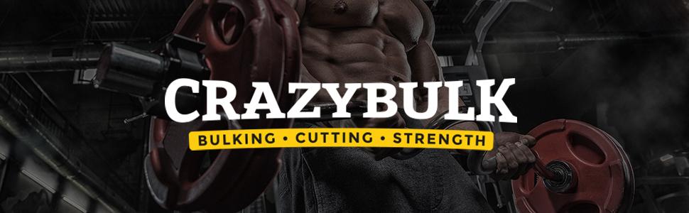 crazybulk loco bulk aumento aumento aumento de volumen de corte de la fuerza de la cabecera logotipo de los suplementos de construcción del cuerpo