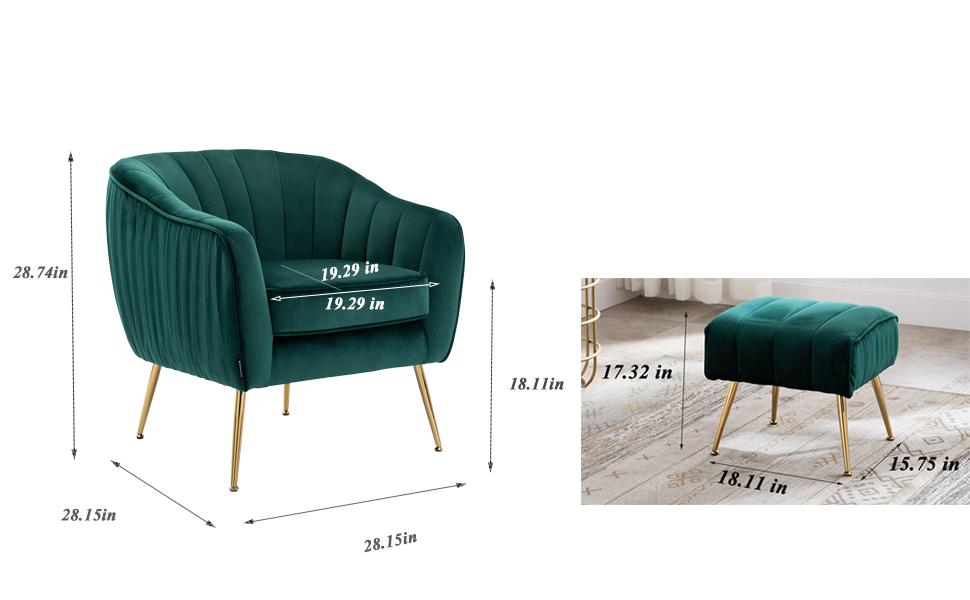 Size of the Green Velvet Chair
