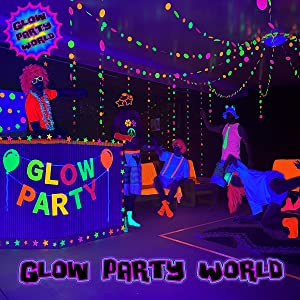 Glow party world birthday black light glow in the dark uv blacklights room decorations neon supplies