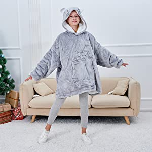 cat hoodie blanket for girls