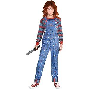 overalls striped turtleneck knife killer horror movie character costume for girl children evil scary