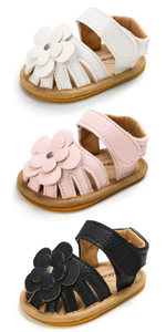 Infant Baby Girl Shoe Toddler Flats Sandal Closed Toe Premium Soft Rubber Sole Anti Slip Summer Crib