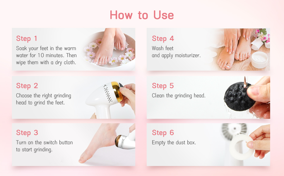 Foot Callus Remover Feet File Dead Skin Pedicure Tool USB Battery Rechargeable Using Instruction