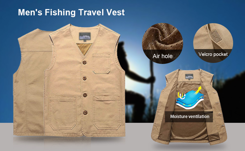 Flygo Men's 100% Cotton Safari Work Fishing Vest