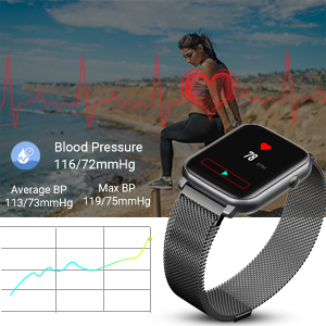 smart watch  Anmino Smart Watch with Heart Rate Monitor BP Fitness Tracker IP68 Waterproof Activity Tracker Full Touch Screen Smartwatch Sleep Monitor Calorie Step Counter SMS Call Notification(Black Steel) 03b38590 f7c8 4a25 aa86 615bcf33e004