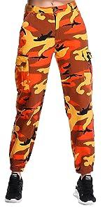 Flank Women Casual Camo Cargo Pants,Outdoor Sports Camouflage Trousers Haren Pants Orange, M