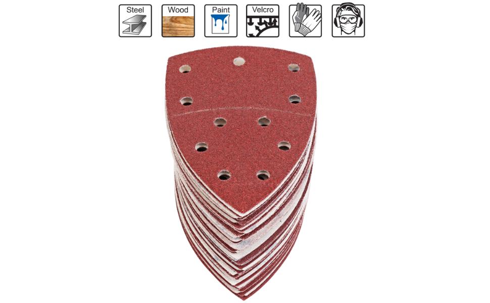 Velcro schuurpapier set 105 mm x 152 mm (93 x 93 x 93 mm), 60 stuks schuurdriehoeken