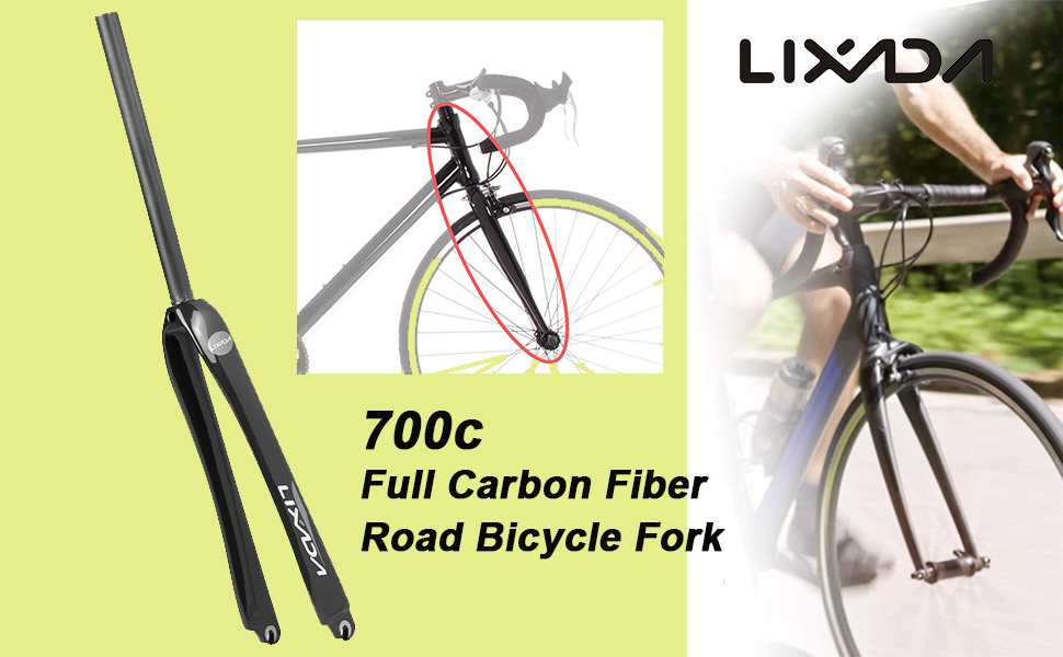 Lixada 25.4mm Ultralight Full Carbon Fiber Road Bicycle Fork 700C Cycling Part