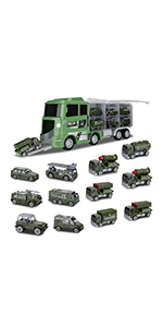 12 in 1 Diecast Military Vehicles in Carrier Truck