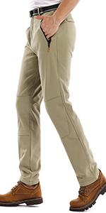 Mens Snow Ski Waterproof Softshell Snowboard Pants Outdoor Hiking Fleece Lined Zipper Bottom Leg
