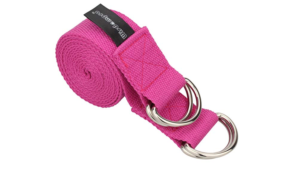 Wisdompro Yoga Strap for Stretching and Posing Doubles as A Yoga Exercise Mat Carrier Sling with 4 D-Rings - A 2-in-1 Extra Value Combination