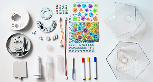 kit includes lamp components electronics pcb LEDs stickers markers plastic screwdriver wires
