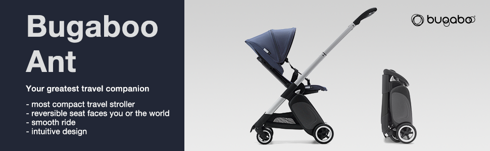 Reversible and Reclinable Travel Stroller Fits in Overhead Compartments Bugaboo Ant Baby Stroller Foldable Stroller Travel and Compact Storage Black Lightweight Stroller