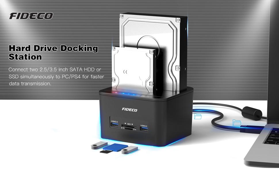 FIDECO Docking Station, USB 3.0 Base de Conexión para Ordenador ...