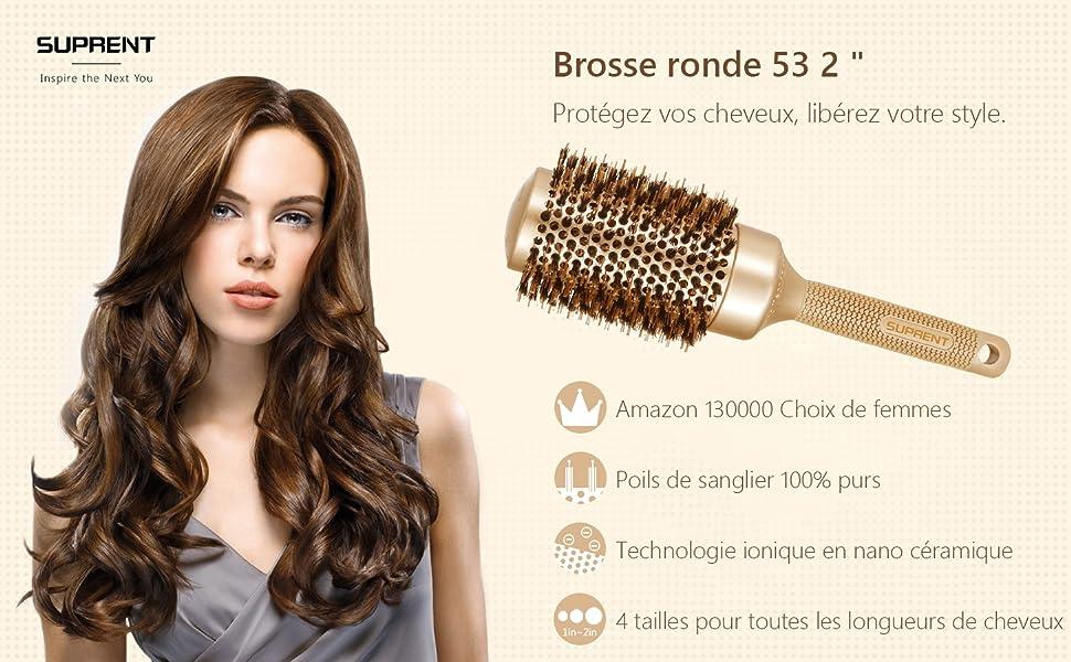 Brosse Ronde SUPRENT 82mm (Baril 53mm),Brosse à cheveux