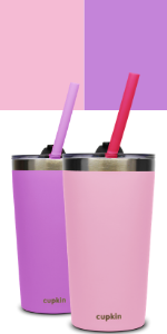 purple pink stainless steel kids cups lids straw