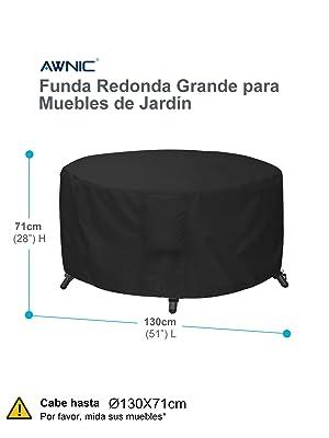 Awnic Funda Mesa Redonda Jardín Funda Muebles Patio Terraza ...