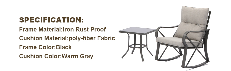 outdoor patio bistro rocking chair set warm gray cushion square table