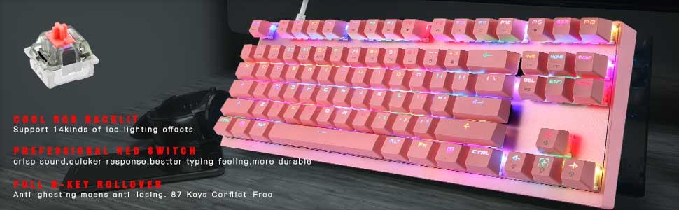 1  MOTOSPEED Professional Gaming Mechanical Keyboard RGB Rainbow Backlit 87 Keys Illuminated Computer USB Gaming Keyboard for Mac & PC Pink 03d70d2a 0134 4c2e 8907 0b7798547fe5