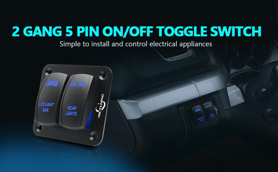 Auto Car Truck Boat Door Rocker 12V-24V 6-Pins ON OFF Toggle SPST Switch