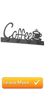 4-Hook Coffee Cup Design Wall Mounted Black Metal Mug Rack