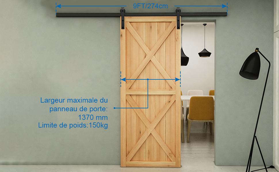 Coulissante Ensemble Hardware kit pour Une Porte Suspendue 121cm//4FT Acier Inoxydable Porte de Grange Porte coulissante Kit/Pour la Porte en Bois